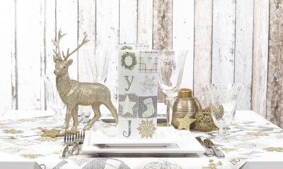 złota dekoracja świąteczna stołu